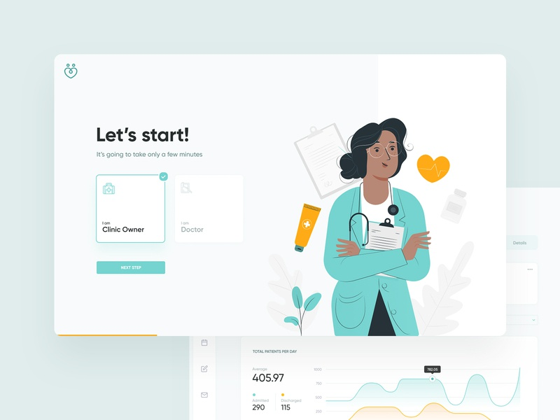 Healthcare manager manage visit healthcare health hospital appointment doctor clean design layout website web wizard sign login dashboard ui ux visux