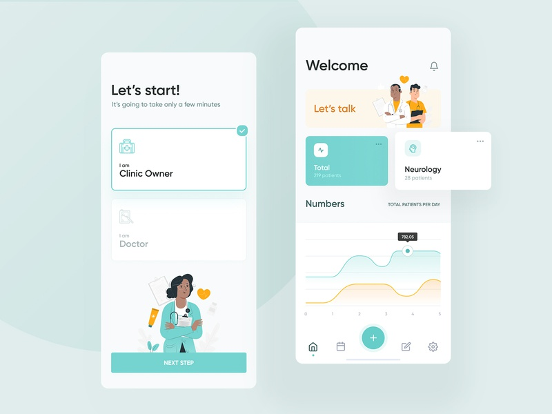 Healthcare App clean hospital patient doctor healthcare health layout design web illustration wizard dashboard android ios iphone app mobile visux ui ux