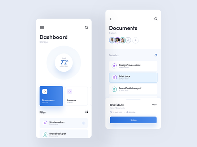 Cloud Storage blue clean manager storage cloud files file android ios app mobile layout design product visux ui ux