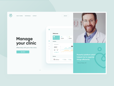Clinic Alternative green clean healthcare health management clinic doctor hospital desktop app mobile layout design website web page landing ui ux visux