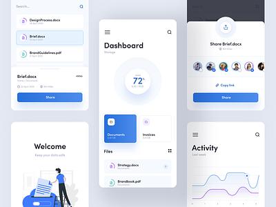 Cloud Storage App manager manage clean blue white storage file cloud android ios layout design app mobile ui ux visux