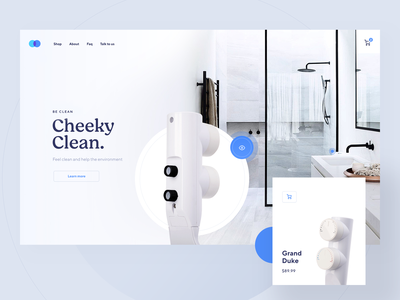Be Clean light blue clean app restroom bathroom toilet store shop ecommerce page landing website web visux ui ux