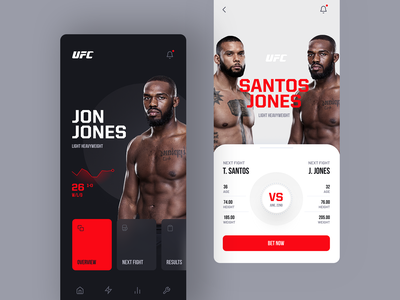 UFC Redesign Concept ios white black red clean concept redesign ufc fight arts martial mma app mobile layout design web ui ux visux