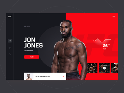 UFC Redesign Concept clean fight jones mma arts martial ufc page landing mobile desktop app website layout design web ui ux visux