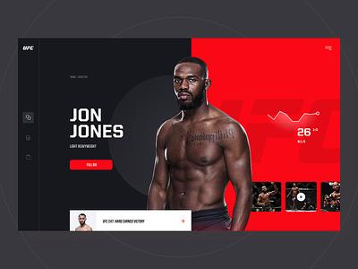 UFC Redesign Concept clean fight jones mma arts martial ufc page landing mobile desktop app website layout design web ui ux visux