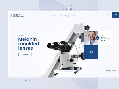 Optical clean navy blue medicine doctor eyes lens optical layout design desktop app website web page landing visux subtl