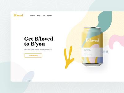 Bloved modern ecommerce cannabis drink blue green orange white clean ux ui desktop layout design website web page landing visux subtl