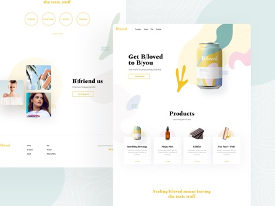 bloved green pink yellow clean shop drink hemp cannabis desktop app homepage home layout website design web page landing visux subtl