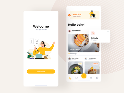 Cooking App eat meal dish catering food chef recipe cook white yellow clean android ios iphone pwa app mobile ui ux visux