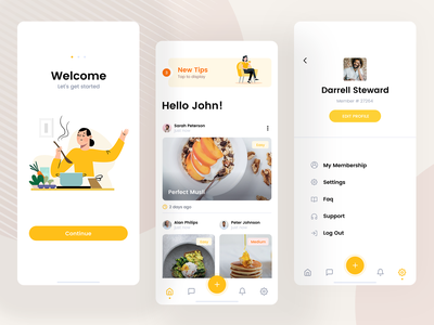 FoodApp design layout interface ios pwa illustration restaurant meal cook catering food clean web app mobile ux ui visux subtl