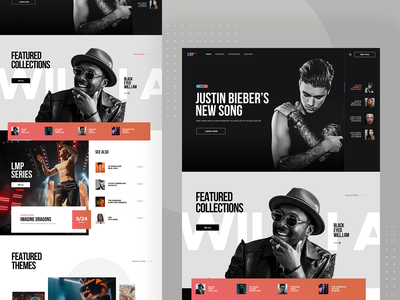 Music Portal clean modern lifestyle audio video portal music responsive desktop app ui ux layout design website web page landing visux subtl