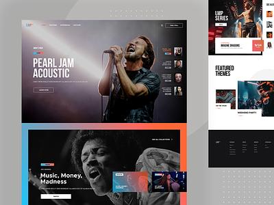 Music Portal clean content concert music portal responsive app layout design web website page landing subtl visux