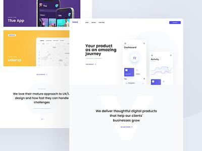 visux clean modern blue black white page landing website responsive app desktop layout design web ui ux visux