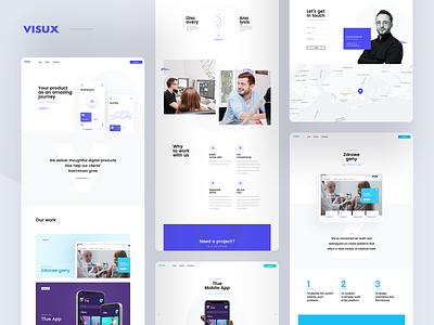 visux.net business saas blue green white clean app branding software corporate page landing layout website design web ui ux visux