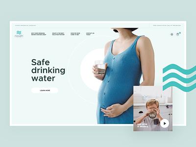 Noah white green drinking drink filter water clean interface layout website desktop page landing webdesign design web ui ux visux subtl