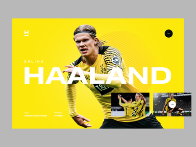 Haaland yellow concept haland bvb player ball soccer football sport desktop app web website page landing ui ux visux subtl