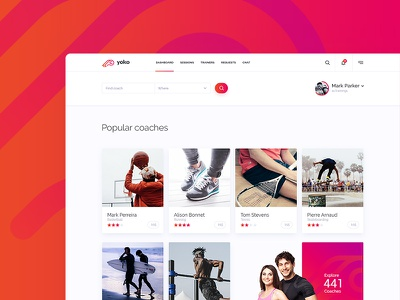 Youko fitness trainer personal sport clean app interface ui ux subtl jackiewicz lluck