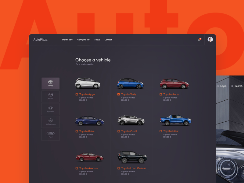 Auto - Vehicle Choice layout app webdesign web car automotive vehicle auto subtl