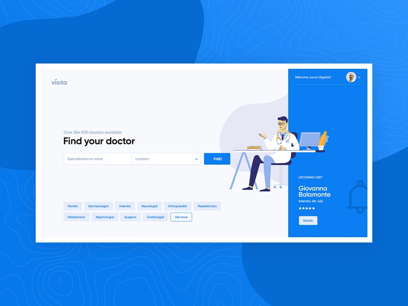 Visita - Home View interface web ui ux medical calendar appointment doctor website page landing subtl visuality