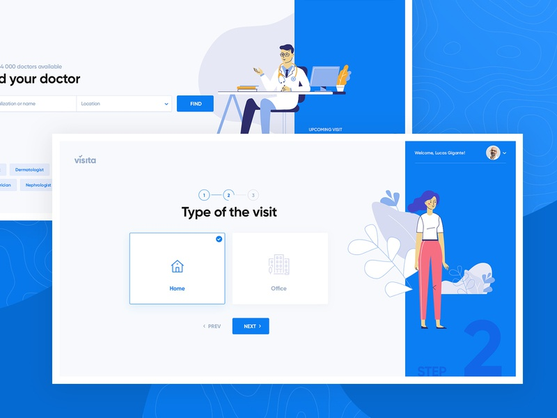 Visita - Wizard #2 medicine doctor wizard layout design web app ui ux subtl visuality