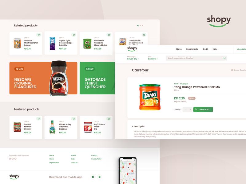 Shopy east middle grocery food design layout app web ui ux subtl visuality