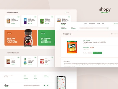 Shopy east middle grocery food design layout app web ui ux subtl visuality