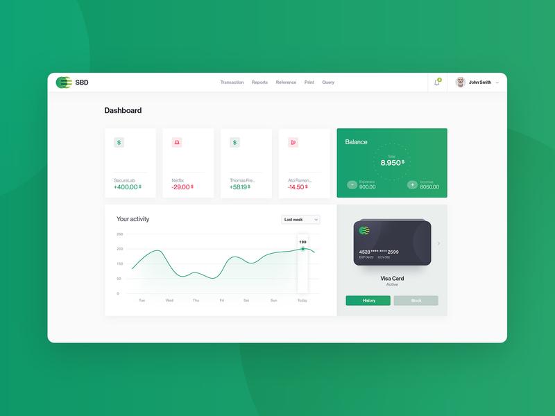 Bank Dashboard money finance ui ux interface clean dashboard financial bank