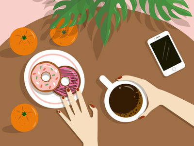 coffee and donuts vector illustration donut donuts graphic design design breakfast coffee vector illustration