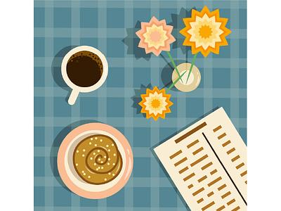 coffee with cinnamon bun morning cinnamon bun design graphic design illustration coffee breakfast