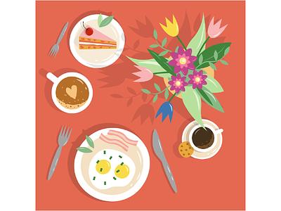 morning time flowers cake vector ui morning design illustration graphic design coffee breakfast