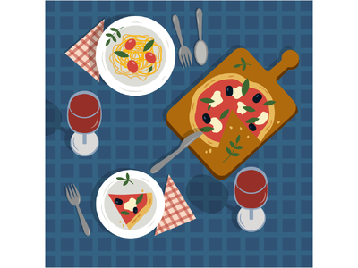 Dinner food illustration food spaghetti pasta wine pizza vector design vector ui design illustration graphic design