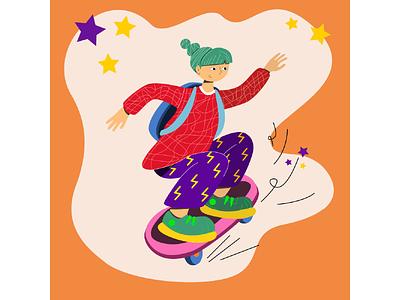 skate board character design character teen on skateboard skate board girl vector illustration ui vector illustration graphic design