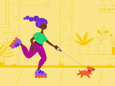 Girl's life vector illustration free time dog girl walking vector ui illustration graphic design