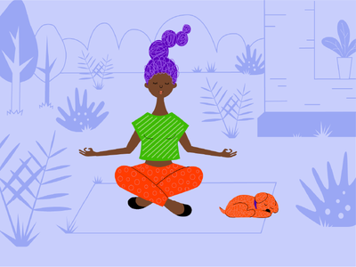 yoga and relax character dog girl vector illustration chill calm relax yoga ui illustration graphic design
