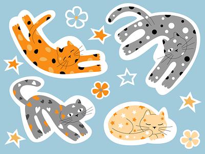 cat stickers funny sticker stickers cat vector illustration vector illustration graphic design