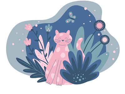 summer cat flat illustration flat summer flowers cat vector illustration vector ui illustration graphic design