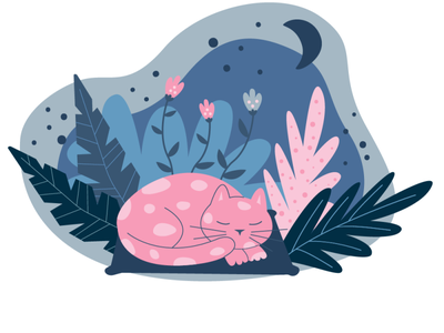 Sleepy cat sweet dreams cute good night night sleeping vector cat illustration flat illustration ui vector illustration graphic design illustration