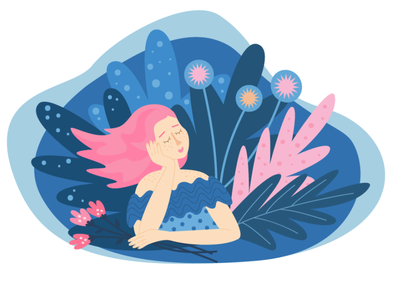 Dreaming girl flat illustration girl with flowers flowers design girl vector illustration vector ui graphic design illustration