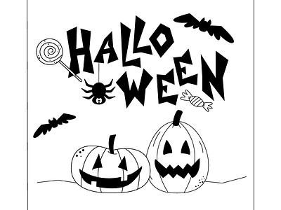 Halloween graphic design holiday funny black and white postcard autumn spooky spider bat pumpkin vector illustration halloween