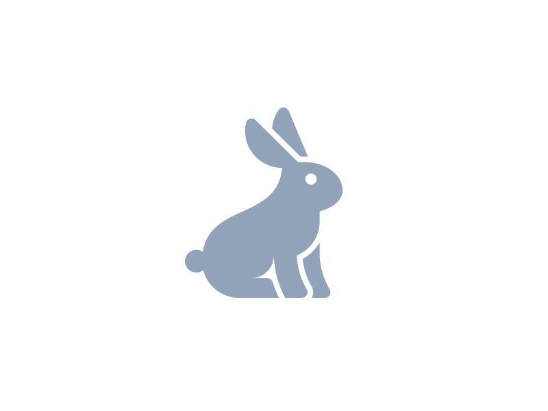 Bunny bunny rabbit logo icon tail puff blue