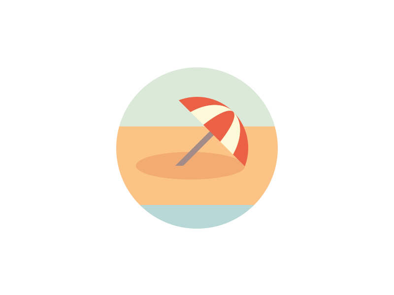 Summertime beach icon logo umbrella shade summer summertime illustration