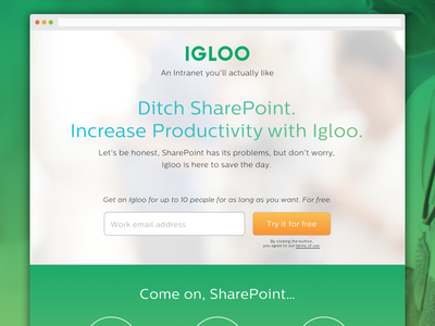 Igloo Landing Page clientboost klientboost sharepoint igloo intranet green site ui lp landing page