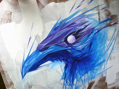Raven  painting acrylic bird crow raven blue purple