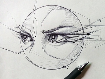 traced a coaster... drew some eyes. bic pen quickie drawing sketch