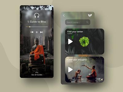 Liulang - Meditation mobile app illustration graphic design design modern creative frosted glass app mobile wellness meditation