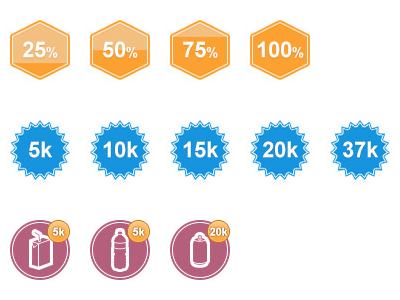 Progress Badges progress badge icon interface orange blue red