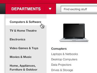 Mega dropdown dropdown red button interface menu navigation list silver
