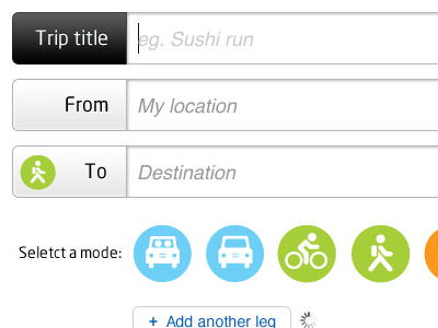 Log form form log trips interface travel fields trip transportation