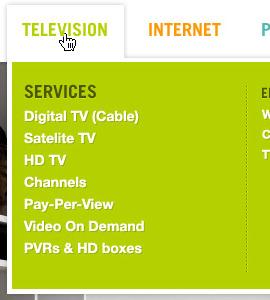 Dropdown menu green dropdown menu hover shadow television selection services