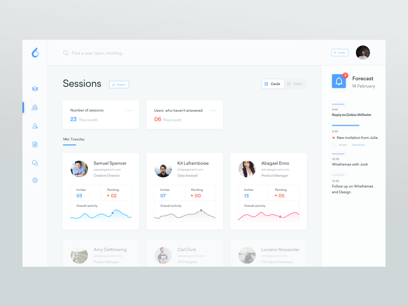 Sessions -  ooto Dashboard calendar todo data team webapp freebie free ui schedule meeting cards app web stats graph interface ux simple clean dashboard